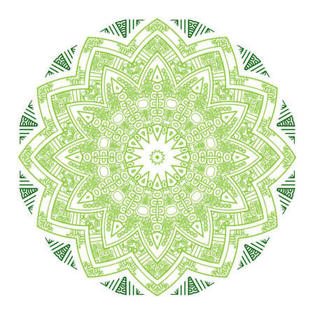Ethnicity round ornament in green and white colors, mosaic vector illustration