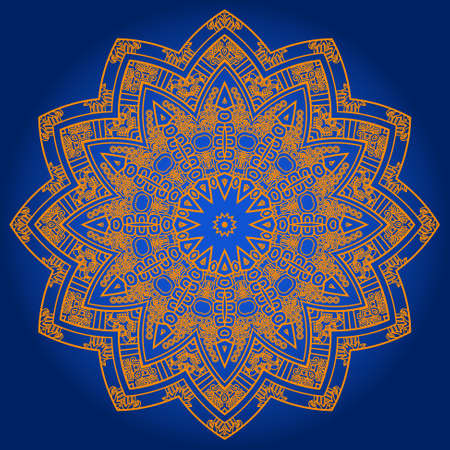 mayan prophecy: Ethnicity round ornament in blue and gold colors, mosaic vector illustration Illustration