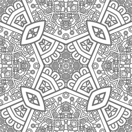 Abstract square ornamental pattern in grey color Vector