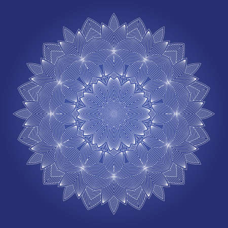 Abstract round ornamental pattern in blue and white colors Vector