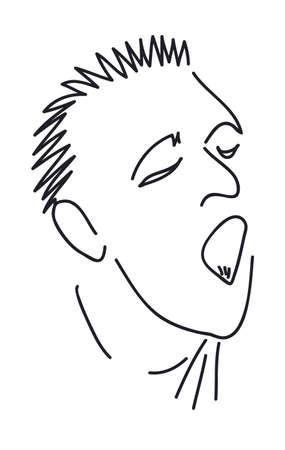 Caricatura de un hombre con la boca abierta que grita, la mano de dibujo Foto de archivo - 14505030