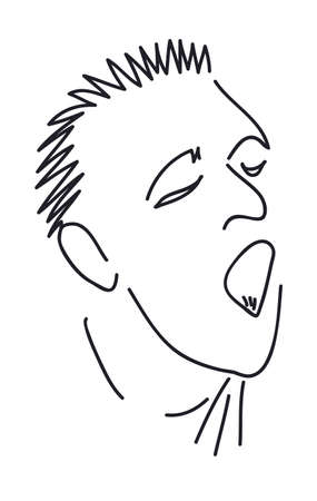 screaming head: Cartoon a man with an open mouth that screams, hand drawing