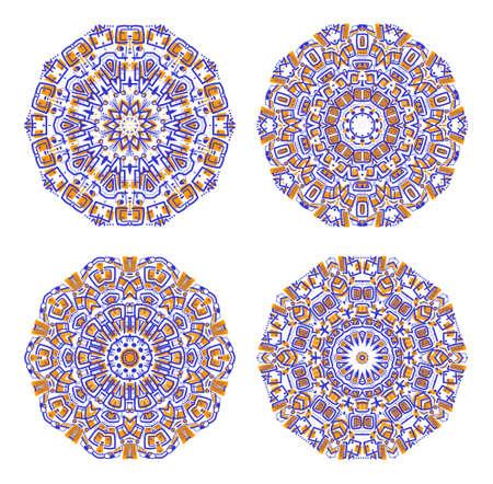 precise: Set of colorful ethnicity round ornament, mosaic illustration