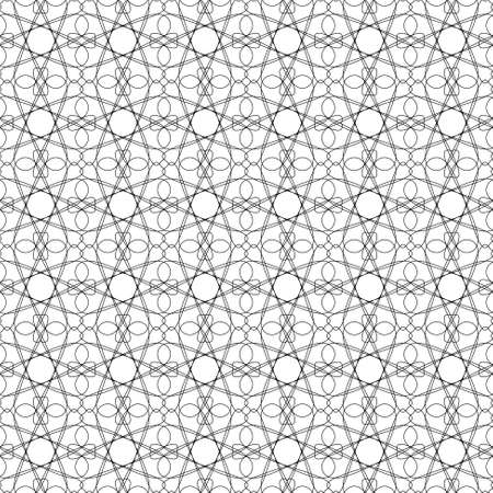 specimen: seamless black illustration of tangier grid, abstract guilloche background