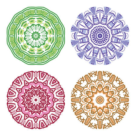 mayan prophecy: Set of colorful ethnicity round ornament, mosaic illustration