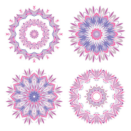 Abstract round ornamental pattern in purple and pink colors Stock Vector - 14666335