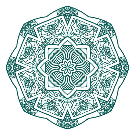mayan prophecy: Ethnicity round ornament in green color, mosaic vector illustration