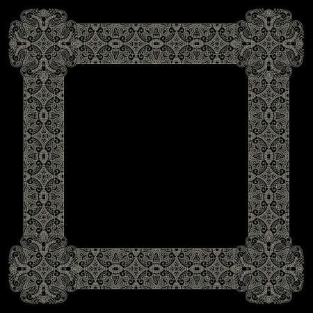 classic art: Abstract ornamental gold frame, elegant vintage label, vector illustration