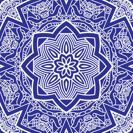 mayan prophecy: Ethnicity round ornament in blue and white colors, mosaic vector illustration