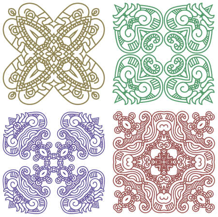 Set of colorful ethnicity square ornament, mosaic  Vector