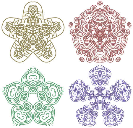 'retro styled': Set of colors ethnicity ornament, mosaic  Illustration