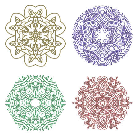 Set of colorful ethnicity round ornament,