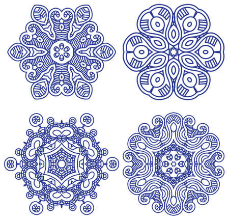Set of blue ethnicity ornament, mosaic vector illustration Stock Vector - 14723747