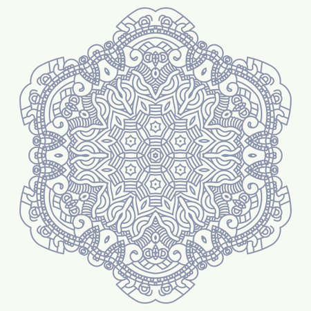prophecy: Ethnicity round ornament in blue and white colors, mosaic