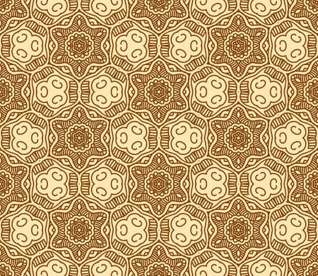 Seamless wallpaper with aztec ornament in brown and gold colors Stock Vector - 14724335