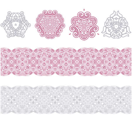 Set of borders with ornament. Interesting solutions for your design Vector