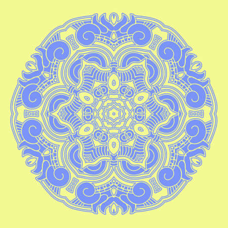mayan prophecy: Ethnicity round ornament in blue, mosaic illustration