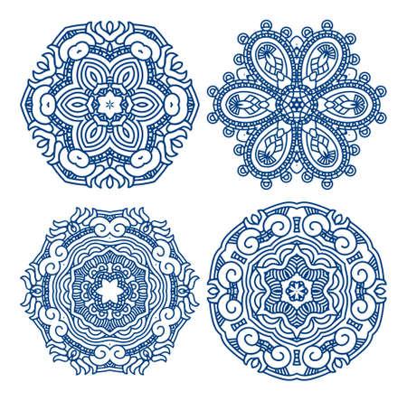 cultura maya: Conjunto de azul ilustraci�n ornamento �tnico mosaico,