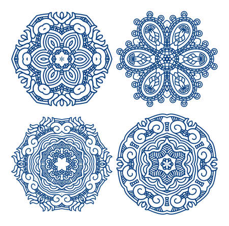 mayan culture: Set of blue ethnicity ornament, mosaic  illustration Illustration