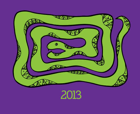 New year hand drawn background with snake Vector