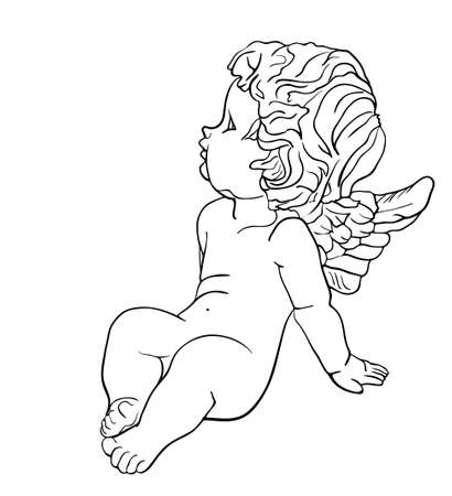 angel white: Tired little angel with wings sitting on the ground, black and white drawing Illustration
