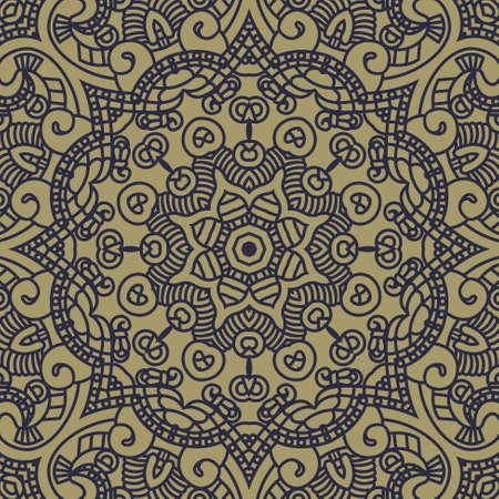 cultura maya: Etnia ornamento redondo en colores azul y oro, ilustración mosaico