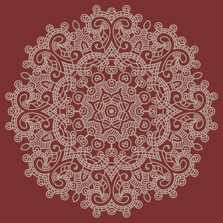 Ethnicity round ornament in red and white colors, mosaic  illustration Vector