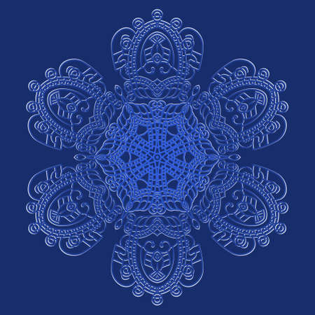 Snowflake on a blue background, element for design illustration Vector