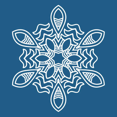 Snowflake on a blue background, Ornamental round seamless lace pattern, element for design illustration Vector