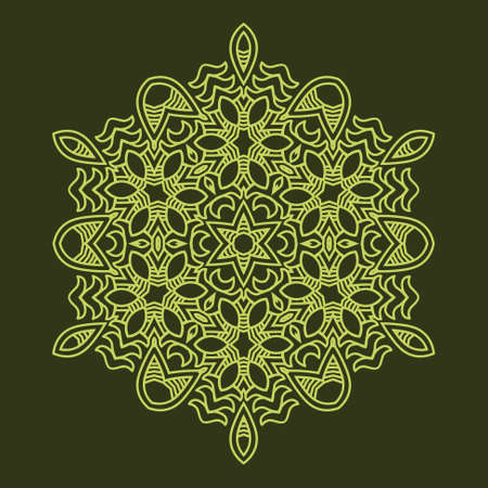 Snowflake on a green background, Ornamental round seamless lace pattern, element for design,  illustration Vector