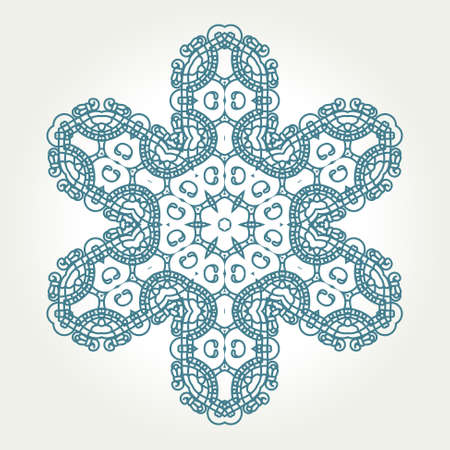Snowflake on a white background, Ornamental round seamless lace pattern, element for design illustration Vector