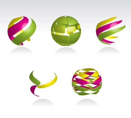 Collection of abstract spheres made from colorful stripes Vector