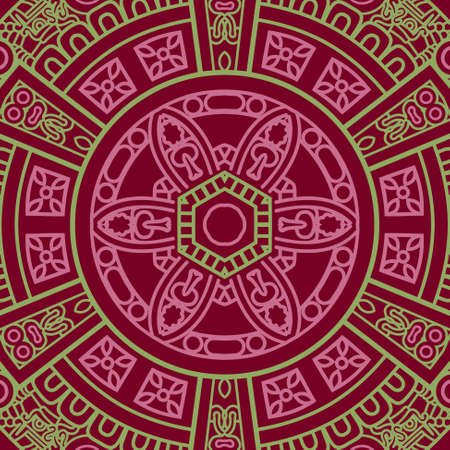 mayan prophecy: Ethnicity round ornament in red and green colors, mosaic  illustration