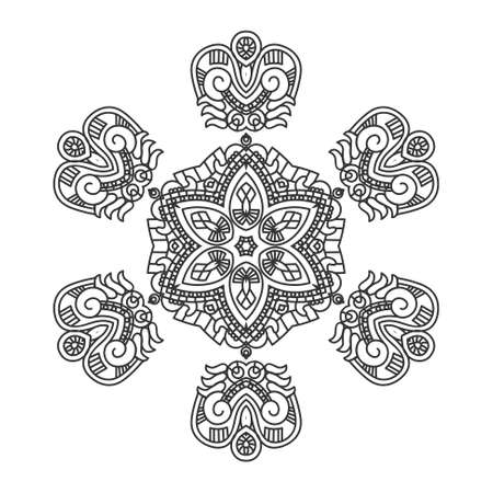 mayan prophecy: Ethnicity round ornament in black and white colors Illustration