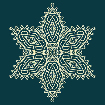 star ornament: Snowflake on a blue background, element for design