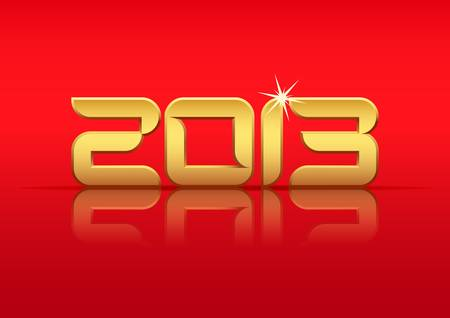 Gold 2013 year with reflection on red background