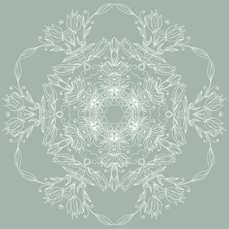 Ornamental round floral pattern, circle lace background Vector