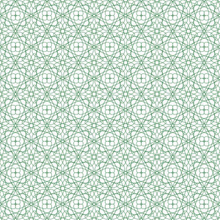 seamless green illustration of tangier grid, abstract guilloche background Vector