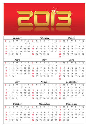 2013 Calendar, calendar with all weeks, days and months, sundays are marked red Stock Vector - 15093344