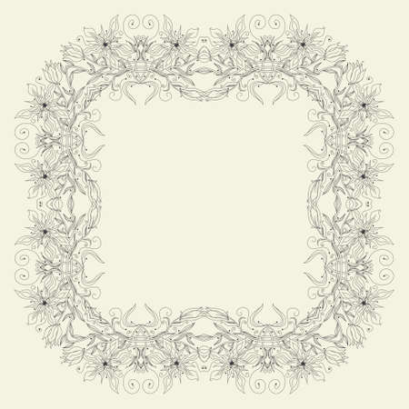 Abstract ornamental frame, elegant vintage label, illustration Vector