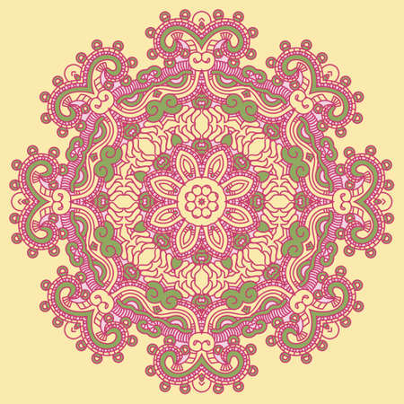 precise: Ornamental colorful round floral ethnicity lace pattern, mosaic vector stained glass