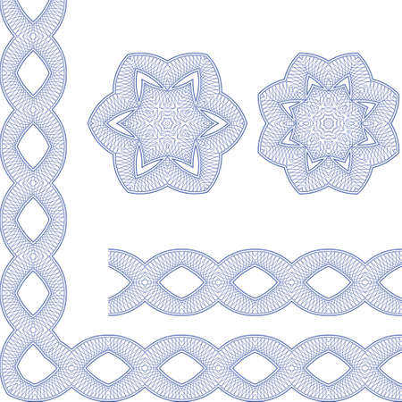 Set of borders with guilloche ornament  Interesting solutions for your design Stock Vector - 15177248