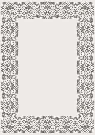 Ornamental vector frame for diploma or certificate, decorative design element Vector