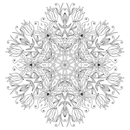 handmade graphic texture: Ornamental round floral pattern, circle lace background