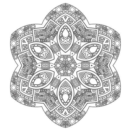 mayan prophecy: Ethnicity round ornament in black and white colors, mosaic vector illustration