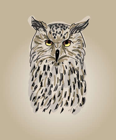 Hand drawn cartoon of owl, Single brown owl, vector eps 10 Vector
