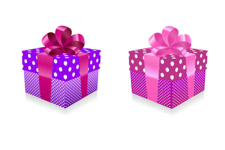 Vector illustration of a red gift box with pink bow Vector