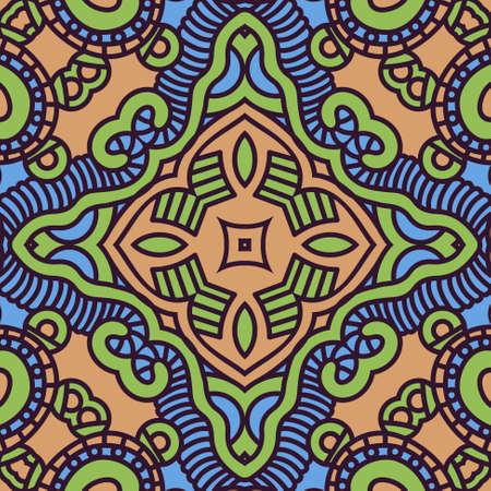 Ethnicity round color ornament, mosaic illustration Vector