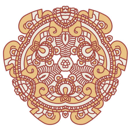 Colorful ethnicity round ornament Vector