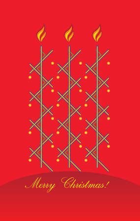 Merry Christmas card  Three candles abstract design on a red background with golden balls Vector